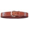 Bianchi B9 Fancy Stitched Belt - Plain Tan/Suede, Brass Buckle
