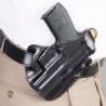 DeSantis Left Hand Black Leather Lined I.C.E. II Holster 011BBM5Z0 - SIG P229 DAK WITH EQUIPMENT RAIL