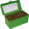 MTM Case-Gard 50 Flip Top Rifle Ammo Box for Large Magnum Calibers Green RLLD-50-10