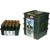MTM Shot Shell Tray 12 Gauge Stackable with Load Labels Set of Four 25 Rounds per Tray Black STH12