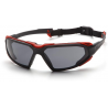 Pyramex Highlander Safety Glasses - Gray Anti-Fog Lens, Black-Red Frame SBR5020DT, Pack of 12